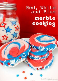 Red White and Blue Marble Cookies