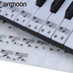 Hot Sale! Transparent Piano Keyboard Sticker 49/61 Key Electronic Keyboard 88 Key Piano Stave Note Sticker for White Keys