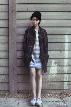 Plaid vintage jacket, striped shirt dress