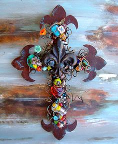 Decorative+Wall+Cross+Fleurdelis+Rusty+Beaded+by+TotallyCrosses,+$82.50