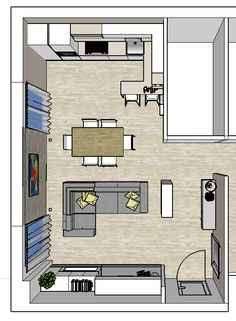 Guide to Furniture Arrangement Small Open Plan Kitchens, Open Plan Kitchen Dining Living, Open Space Living, Small Living Rooms, Küchen Design, House Design, Small House Layout, Small Appartment, Casa Clean