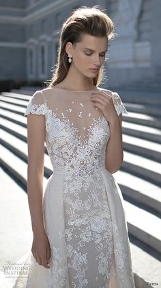 berta fall 2016 bridal beautiful sheath wedding dress cap sleeves bateau illusion neckline overskirt chapel train lace embroidery