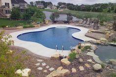 Lazy L-shaped Pools | Found on atlantispoolsinc.com