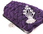 Purple Bridal Clutch Wedding Purse Evening Handbag
