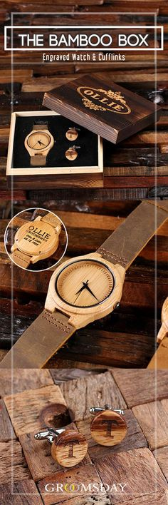 Grab this stylish, eco-friendly Bamboo wood wristwatch and matching cufflinks set,  enclosed in an engraved wooden gift box.  The perfect personalized groomsmen gift, this natural bamboo watch is well constructed with leather straps,  and manufactured with high-quality Japanese-made quartz movements. Share & repin!  Only from Groomsday | Groomsday.com #woodwatch #watches #woodcufflinks #cufflinks #groom #groomsmen #groomsmengifts #personalizedgifts #giftsformen #mensaccessories Best Groomsmen Gifts, Groom And Groomsmen Attire, Groomsman Gifts, Wedding Ring For Her, Wedding Men, Wedding Ideas, Dream Wedding, Wedding Shower Gifts, Wedding Gifts
