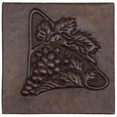 Copper Tile (TL712) Triangle of Grapes Design