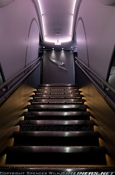 The forward staircase to the upper deck on this marvellous aircraft. - Photo taken at London - Heathrow (LHR / EGLL) in England, United Kingdom on September Qantas A380, Airbus A380, Aircraft Interiors, Best Airlines, Private Jets, Aircraft Pictures, Flight Attendant, Rolls Royce, Aviation