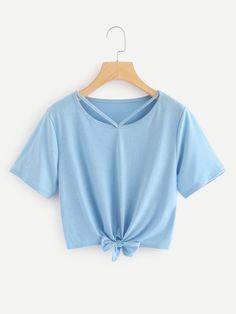 5adcd4b7535a Cut Out Neck Knot Crop TeeFor Women-romwe Crop Top Shirts