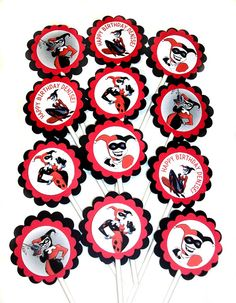 Harley Quinn Cupcake Toppers 1 Dozen by RhondasBowtique on Etsy