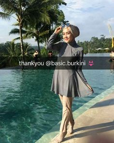 Thank you ka @hamidahrachmayanti for wearing our burkini  She's wearing custom burkini full set with turban + swim socks in grey stone mix nude colors