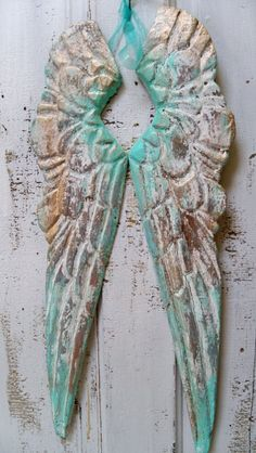 Sea foam white wooden angel wings distressed carved wood shabby chic wall sculpture home decor Anita Spero on Etsy, $120.00