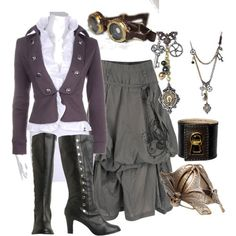 Awesome steampunk outfit. Love the cuff and the spectacles.