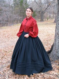 Red Flannel Garibaldi bodice based on an 1860s fashion plate, using Past Patterns # 709