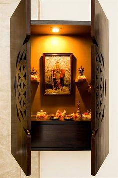 prayer room and mandir design & prayer room and mandir ideas online - TFOD Mandir Design, Pooja Mandir, Pooja Room Door Design, Home Design, Interior Design, Home Temple, Indian Interiors, Modern Interiors, Puja Room
