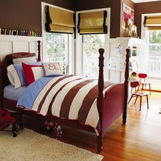 Boy color.Brown with green and red. Asher Collection - Boy's Bedroom Collection by Serena & Lily, via Flickr - Thinking Green striped roman shades, ashy brown, red blankets and lots of white to lighten it up.