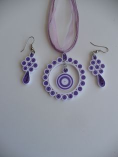 Quilling Jewelry Set: One pair Earring And one Necklace by HelenWorld on Etsy https://www.etsy.com/listing/228781339/quilling-jewelry-set-one-pair-earring