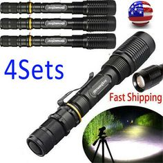 Ultrafire 4sets 20000lm T6 Zoomable LED 18650 Focus Flashlight Torch Lamp USA