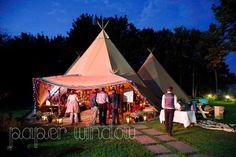 Tipis at dusk - beautiful festival style wedding