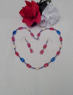 Necklace  20 inch  Red White & Blue with by EnchantedRoseProduct, $14.95