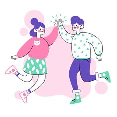 Hand drawn people giving high five Free . Illustration Art Drawing, People Illustration, Character Illustration, Graphic Design Art, Graphic Design Illustration, App Design Inspiration, High Five, Photoshop Design, Illustrations Posters