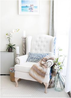 Farmhouse Style Wingback Chair Makeover
