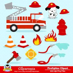 50% OFF SALE FIREFIGHTER Digital Clipart Fireman by ClipArtopia