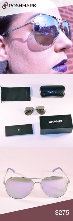 Chanel Pilot Aviator Includes: Sunglasses, Case, box, fabric bag and authenticity booklet.                                         Pilot Signature - titanium & calfskin 100% UVA and UVB Protection CE - Lenses are UV Category Filter 2   Made in Italy.   Brand new. Still has tag.   ALL OFFERS CONSIDERED CHANEL Accessories Sunglasses