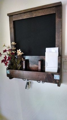 Fav Entry/Kitchen Organizer- Chalkboard, Key Holder, and Flower Holder- Real Wood- Natural Distressed Design, and Unique.