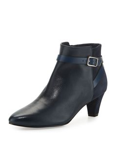 470ae2f3e14 OS Leather   Suede Ankle-Strap Bootie