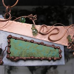 Fairy House - Stained Glass - Butterfly - Copper Steel Crystal - Fantasy Suncatcher - Metal Wall Art Sculpture on Etsy, $58.00