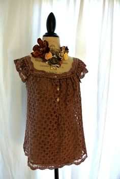Cinnamon lace shirt shabby womens clothing by TrueRebelClothing, $52.00