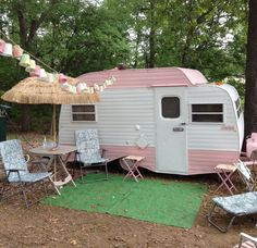 Scotty Hilander Vintage Trailer Camper Pink and White