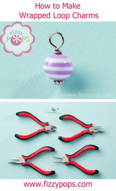 Tutorial on how to make Wrapped Loop Charms from Fizzy Pops. These are a little bit different than the ones you might do for a charm bracelet.