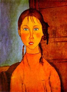 Modigliani, Amedeo - Girl with Braids - Ecole de Paris - Oil on canvas - Portrait - Nagoya City Art Museum - Nagoya, Japan Amedeo Modigliani, Modigliani Paintings, Italian Painters, Italian Artist, Girl With Pigtails, Art Timeline, Oil Painting Reproductions, City Art, Famous Artists