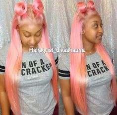 Man , This Has to Be One of the BEST Frontals/Sewin I've Posted On my Page ‼️ She Rockin This Pink ✨ !  Stylist : Look on the Photo  Pinterest : @Hair,Nails, And Style  Is where it's All at