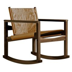 Peglev Rocking Chair   Rocking Chair Varnished Walnut Structure / Macassar  Leather Seat By Objekto   Design Furniture And Decoration With Made In  Design