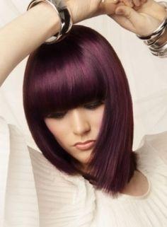 love purple/burgundy/maroon hair i want this color, … – Bob Hairstyles medium Long Angled Bob Hairstyles, Bob Hairstyles With Bangs, Violet Hair, Purple Hair, Plum Hair, Red Purple, Medium Hair Styles, Short Hair Styles, Maroon Hair