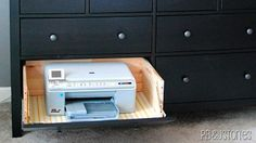 Clever! Mod a Cabinet Drawer to Keep Your Printer Usable but Stashed Away and Out of Sight