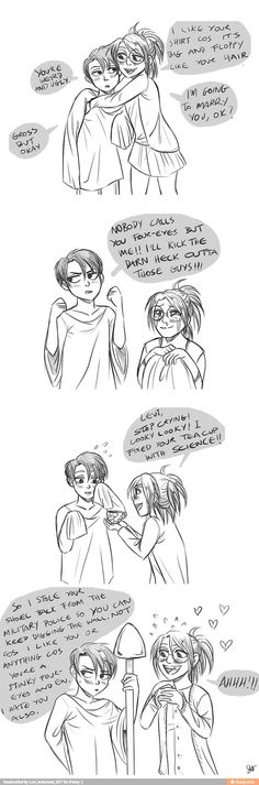 My otp is Ereri but Hanji and Levi as kids and liking each other is too cute. Levi's blush in the last panel!