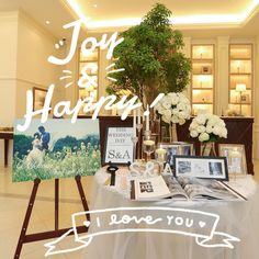 Setup with tree Wedding Table Flowers, Wedding Decorations, Floral Decorations, Reception Table, Wedding Reception, Party Wedding, Wedding Favors, Osaka, Welcome Table