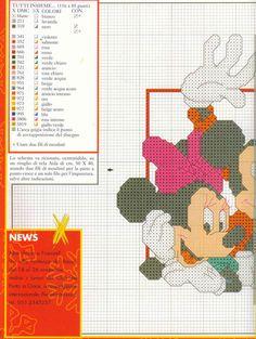 Mickey and Minnie x-stitch 1 Cross Stitch For Kids, Cross Stitch Boards, Cross Stitch Needles, Cross Stitch Baby, Counted Cross Stitch Patterns, Cross Stitch Embroidery, Mickey Mouse Crafts, Mickey Mouse And Friends, Disney Crafts