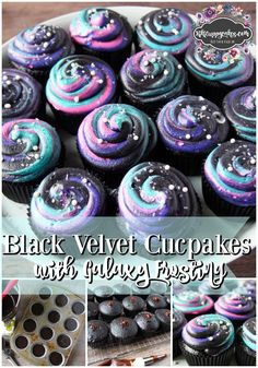 These galaxy black velvet cupcakes, topped with a colorful icing and sprinkles to look like a galaxy of stars, are a bold twist on the classic red velvet.