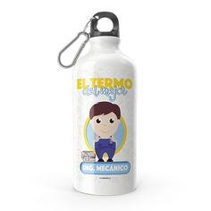 Termo - El termo del mejor ingeniero mecánico, encuentra este producto en nuestra tienda online y personalízalo con un nombre. Thing 1, Water Bottle, Snoopy, Drinks, Character, Water Bottles, Carton Box, Store, Crates