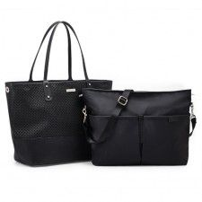 Two bags in one, this versatile Skip Hop Duet diaper tote features a sleek, faux-leather tote and a removable crossbody bag. Boy Diaper Bags, Black Diaper Bag, Best Diaper Bag, Black Tote Bag, Nappy Bags, Changing Bag, Wholesale Bags, One Bag, Bag Sale