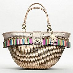 The Coach Hamptons Weekend Straw Hangtags Editorial Tote
