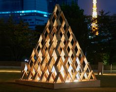 kengo kuma devises 'tsumiki', a system of stackable wooden modules
