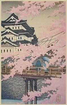 Kawase Hasui (1883-1957): Cherry Blossoms at Himeji Castle
