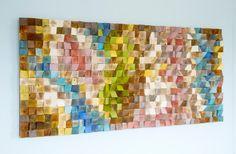 Gran arte de pared de madera mosaico de madera por ArtGlamourSligo