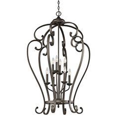 Monroe Olde Bronze Eight Light Foyer Cage Kichler Lantern Pendant Lighting Ceiling Lightin