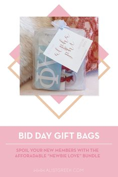 Spoil your new members this recruitment with the Newbie Love bundle! Gift bag includes a sorority decal, hair tie set, and button set. Alpha Phi Gifts   Alpha Phi Bid Day   APhi New Member Gifts   APhi Rush Gift Bags   Alpha Phi Recruitment   Sorority Bid Day   Sorority Recruitment   Bid Day Bags   Sorority New Member Gift Ideas #BidDayGifts #SororityRecruitment